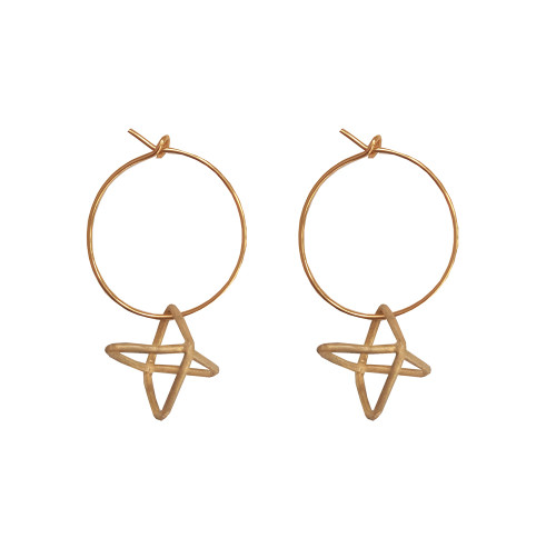 Silver hoop earrings with geometric charm with movement Dangle earrings Designer earrings