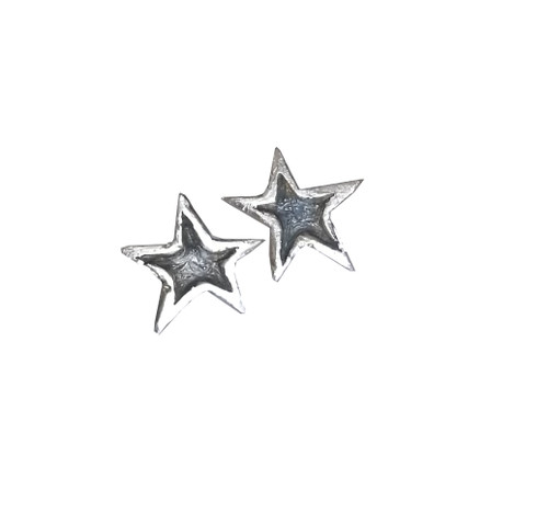 Silver Star Stud Earrings|oxidized earrings|Celestial|Σκουλαρίκια αστέρια