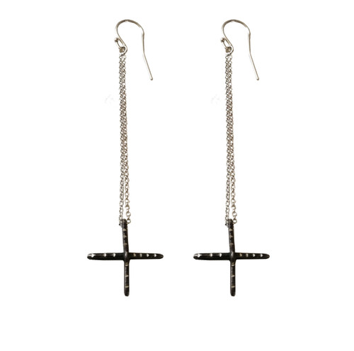 Long Cross earrings wth chains|Contemporary Earrings|Rock style jewelry