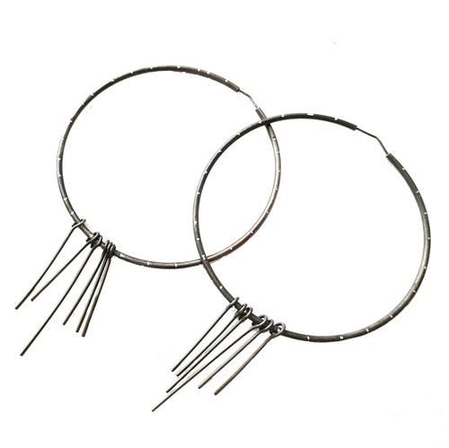 Big Black ( Oxidized) Hoop Earrings  Designer Earrings Contemporary Rocker style