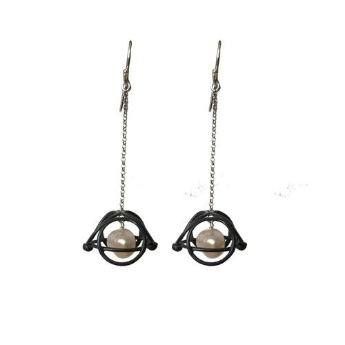 Oxidized long earrings with pearls|Contemp[orary earrings|Greek  Designer