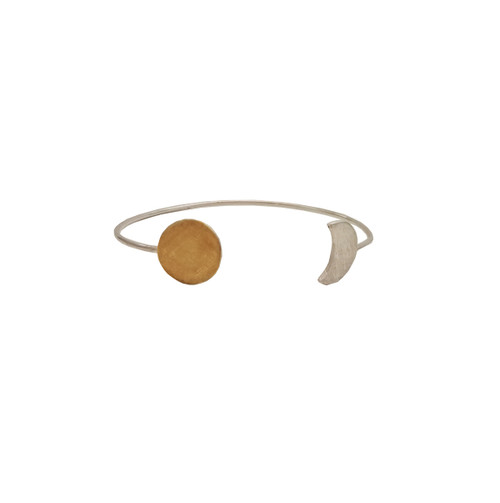 Sunmoon Bracelet,made in silver and gold plating details