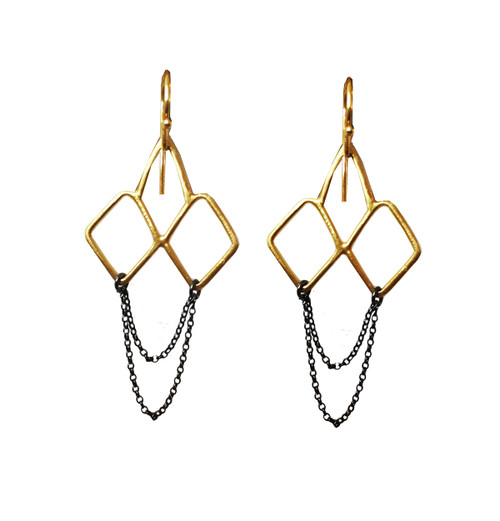 Minimal dangle earrings with Chains|Designer Earrings|Geometric