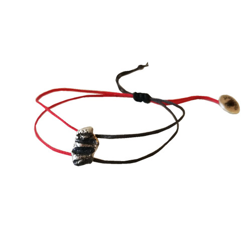 Modern Bracelet with tiny charm with 2 color cords, red and black|Contemporary