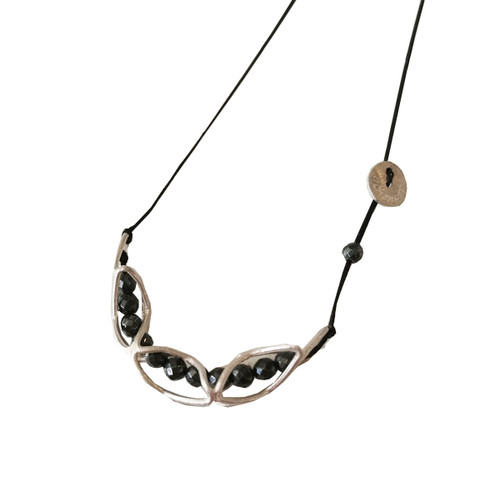 Long Pendant with Hematites and Cord|Adjustable Length
