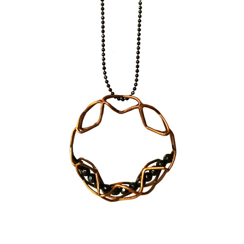 Long Pendant made of Brass| Illusion Pendant with a 3d effect with black stones