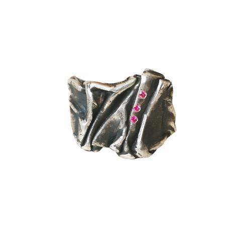 The Greek Peplos( Chiton) Ring with Zircons  Cntemporary Greek Jewelry