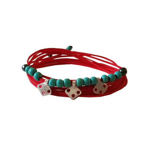 Boho style silver bracelet with Turquoise that can be worn as a necklace also
