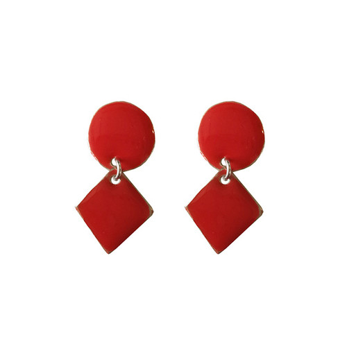 Red Earrings with geometric shape|Designer earrings