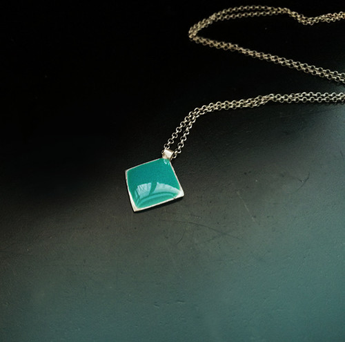 Chic Enamel charm Necklaces made of silver  in red,turquoise,white colors