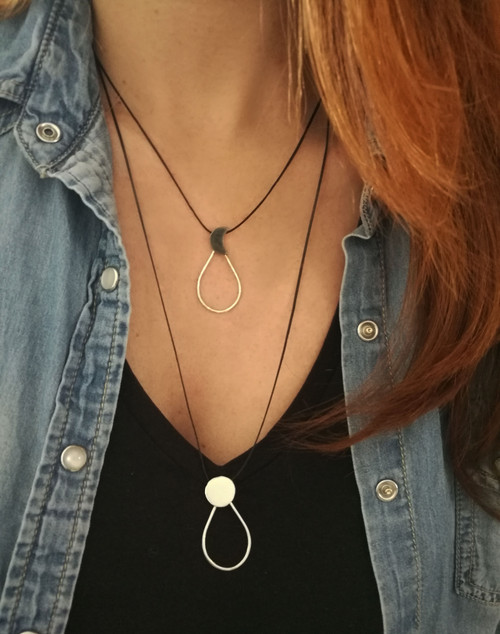 Drop Necklace-Pendant  Moon or sun with Cord|Sun and Moon Jewelry