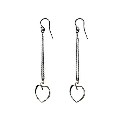 Ribbon Heart Earrings|Long Heart Earrings|Contemporary Heart