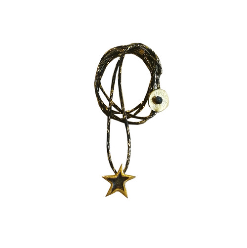 Wish star Necklace with cord in 3 finishes, a cute star charm necklace for everyday wearing