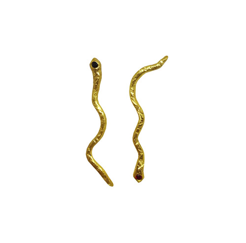 Modern Gold Missmatched Snake Earrings, fine designer jewelry