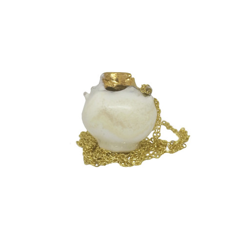Ancient Greek Kanata (Pot) Pendant, exclusive designs |Kanata decorated with white enamel