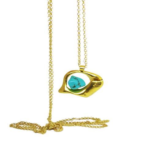 Unusual silver  Eye, Mati Pendant with turquoise