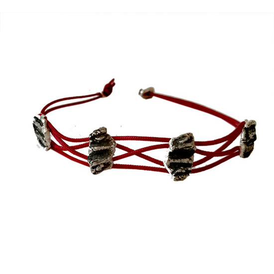 Raw silver nuggets bracelet | Braided Silver Bracelet | Red Boho Bracelet | Braided | Contemporary