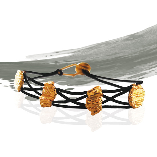 Unique handmade braided bracelet with small nuggets nspired by nature