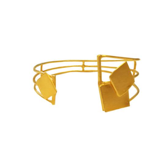 Geometric minimal Cuff Bracelet made of silver 925