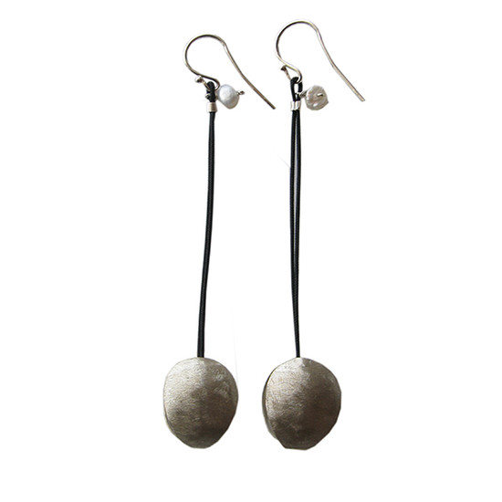 Modern long earrings with cords and peals|Conemporary earrings