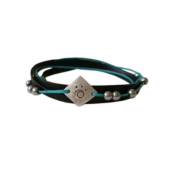Blue aegean- black bracelet Unisex bracelet Wrap bracelet