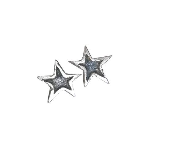 Silver Star Stud Earrings|oxidized earrings|Celestial|Σκουλαρίκια αστέρια