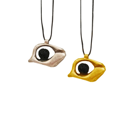 Unisex Eye (Mati) Pendant with cord or chain and black lava bead