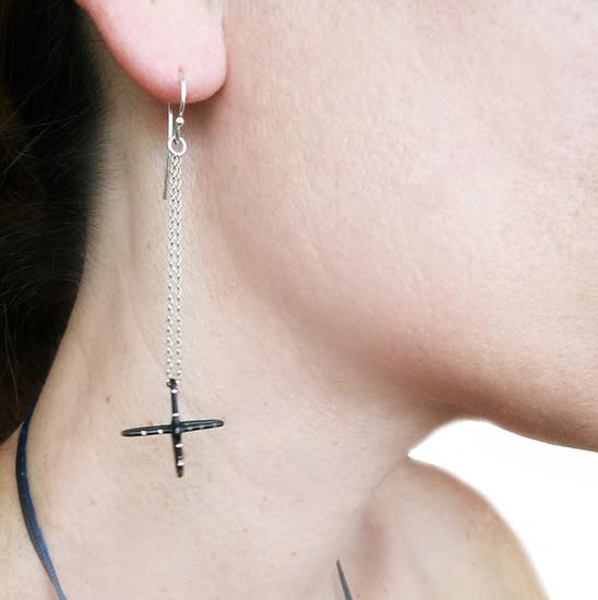Chain Earrings with cross charm