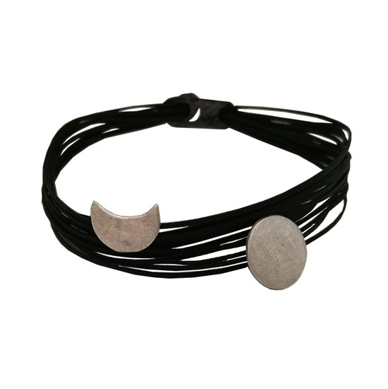 Sun and Moon silver bracelet with many cords