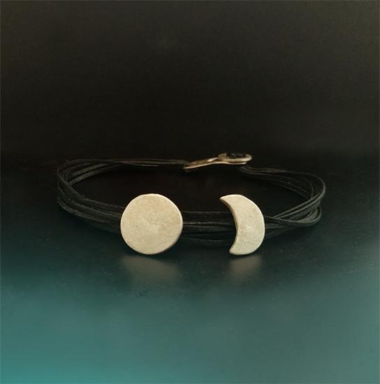 Sun and Moon Silver bracelet|SunMoon Jewelry|Textile Bracelets