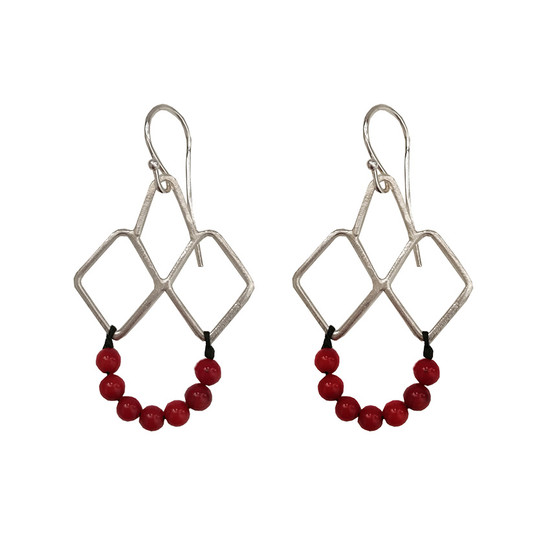 Red Coral  Earrings|Boho style|Designer earrings|Geometric