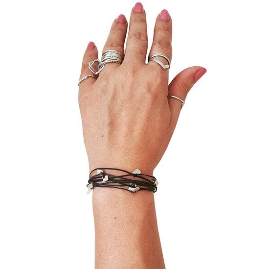 Cord bracelet with handmade silver elements Greek jewelry Designer