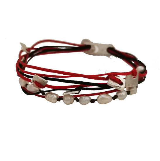 Cord Bracelet with pearls and silver elements|Statement Bracelet