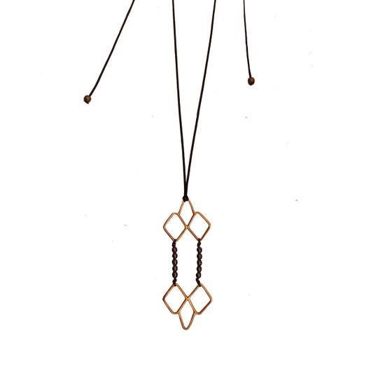 Gold plated silver necklace/Pendant with black hematite Beads Long necklace Designer Necklace