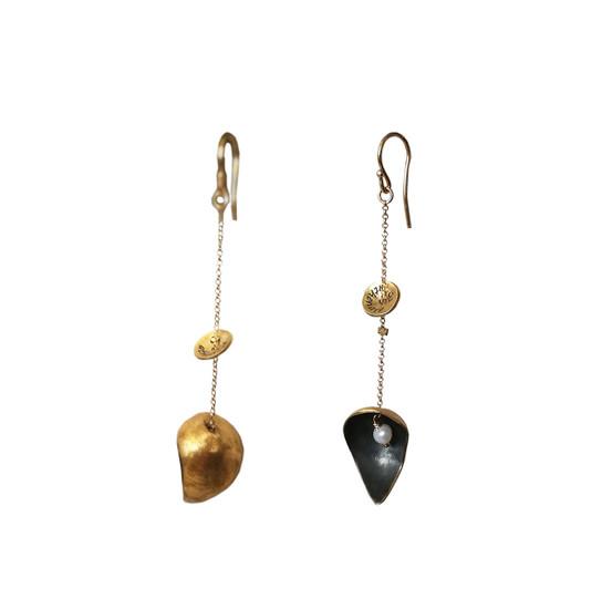 Modern two toned  Drop Earrings with pearls|Rocker Drops|Desdigner Earrings