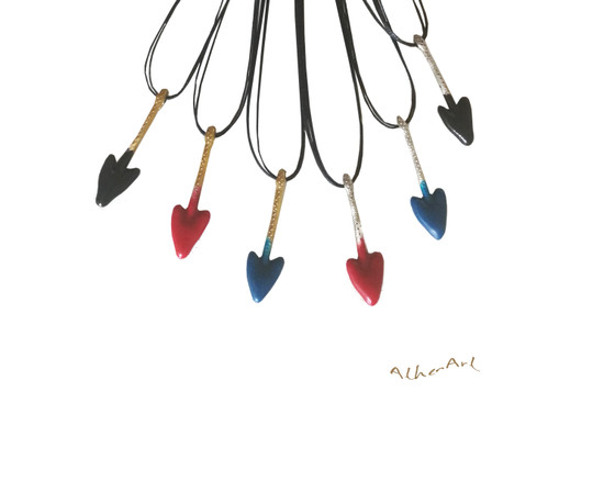 Unisex Heart Shapped Arrow Pendant inspired by Ancient Greek arrow heads that have been found in Crete |Many Colors are available