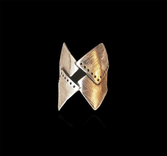 Warrior Ring with zircons Greek Jewellery Geometric Minimal jewelry