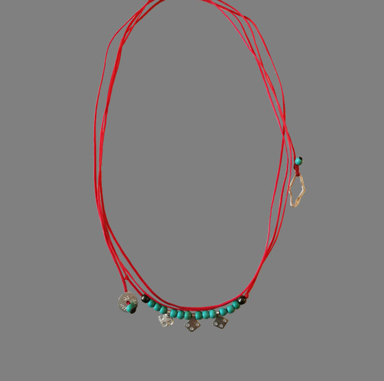 Boho style silver bracelet-Necklace  with Turquoise that can be worn as a necklace also