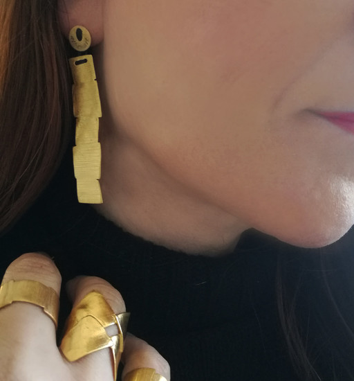 """Contemporary Minimal Earrings """" Doris """"with geometric shape,exclusive designs by Athena"""