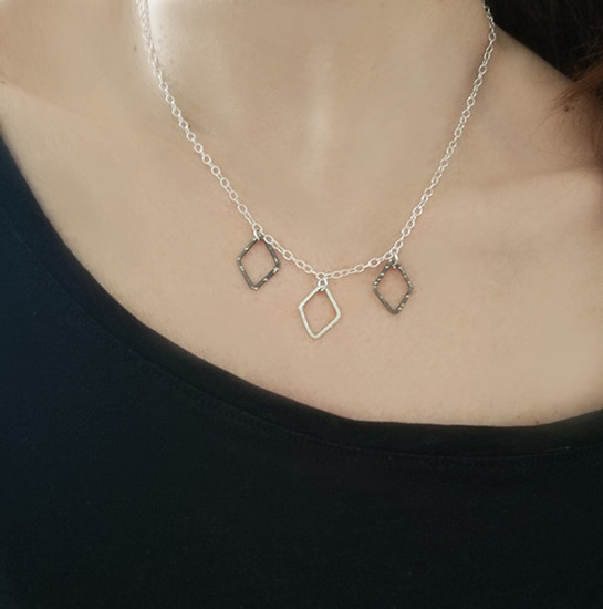 Boho Style chain Necklace with geometric motifs and modern chain