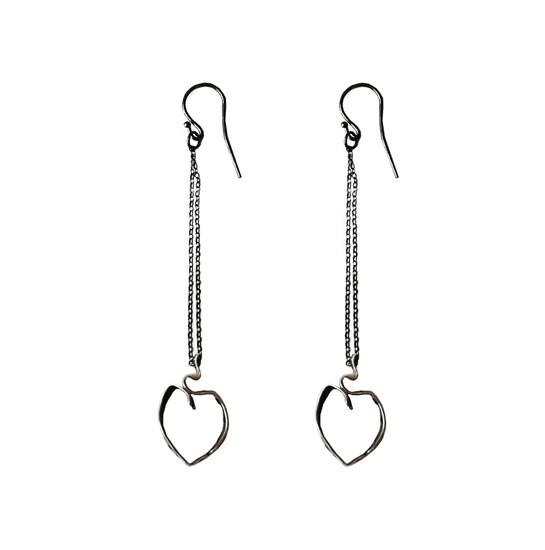 Ribbon Heart Earrings Long Heart Earrings Contemporary Heart
