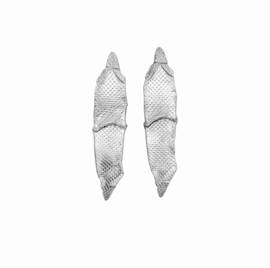 "Modern  Long silver Earrings ""Wave""