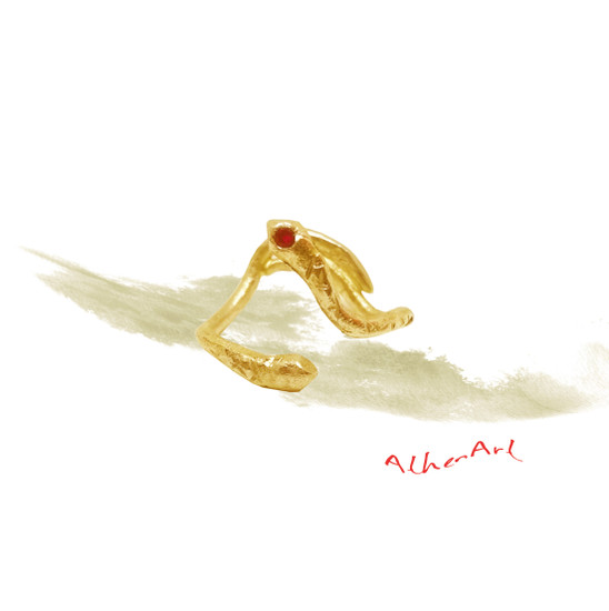 Snake Ring with Red Ruby or Zircons