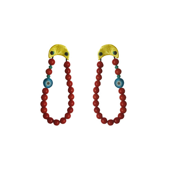 Boho Style Earrings with Blue Eye and Corals