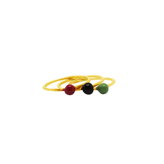 Lia stackable rings made of silver with enamel