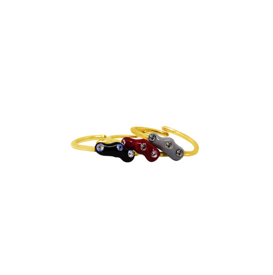 Thea ring in 14k or 9k gold with enamel in many colors & Swarofski crystals