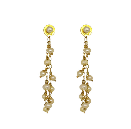 """Pearl Gpapes"" Beautiful long pearl earrings with Freshwater Pearls"