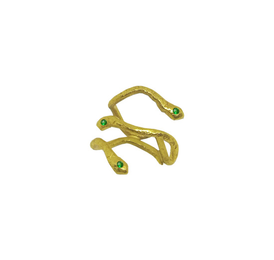 Gold triple  serpent ring