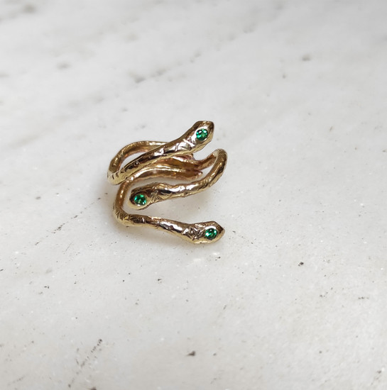 Gold snake ring by Athena Papa , greek jewelry