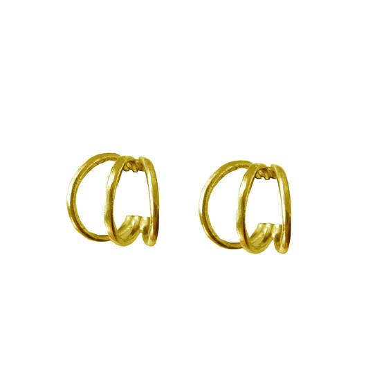 """Gold hoop earrings """"Tria"""" luxury minimal fine jewelry"""